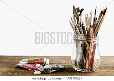 Brush Set With Oil Paints