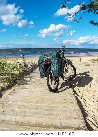 Bicycle Standing On A Wooden Path On The Coast Of Baltic