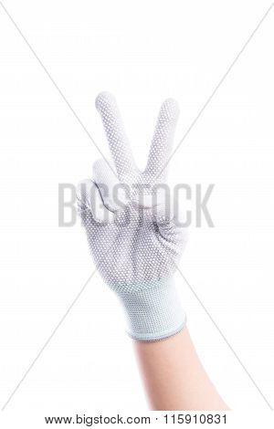 Show Hands Two Finger With Cotton Gloves