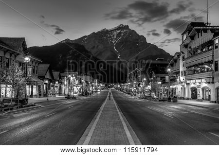 Night View Of Main Strret Of Banff Townsite
