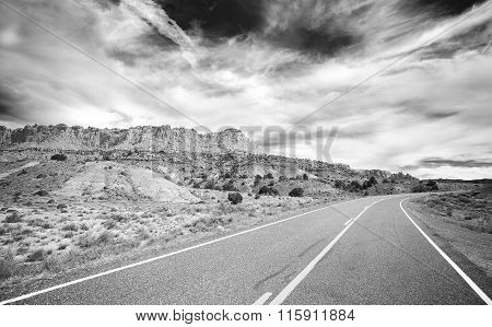 Black And White Photo Of A Country Road, Travel Concept