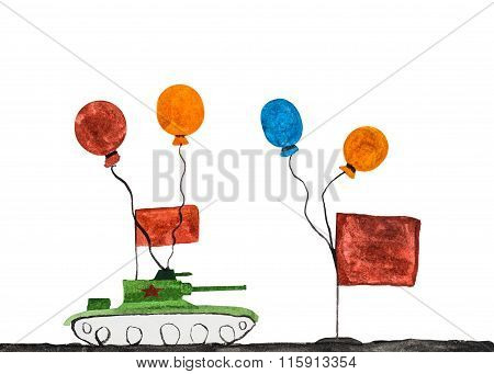 Children's Drawing Of Military Tank