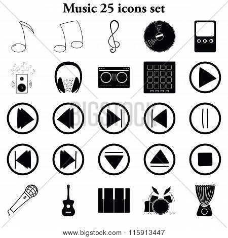 Music 25 Simple Icons Set