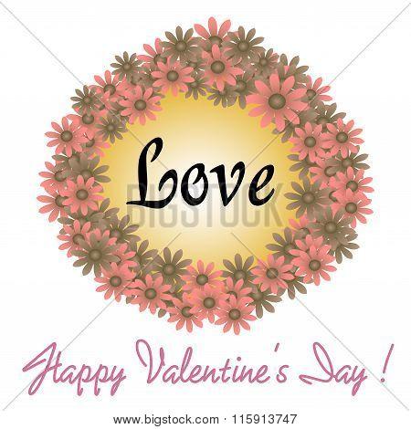 Valentine flower frame