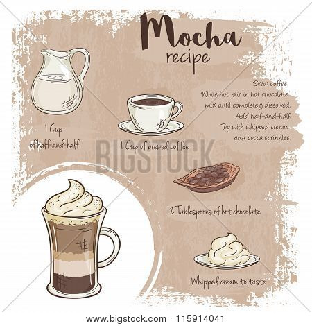 Vector Hand Drawn Illustration Of Mocha Recipe With List Of Ingredients