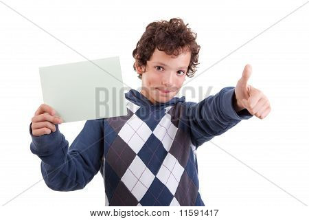 Cute Boy With A Paperboard In Hand Giving Consent, With Thumb Up, Isolated On White Background. Stud