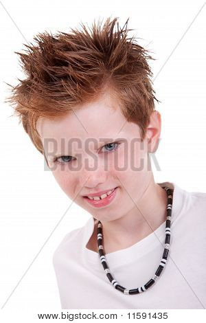Cute Blond Boy Smiling, Isolated On White, Studio Shot