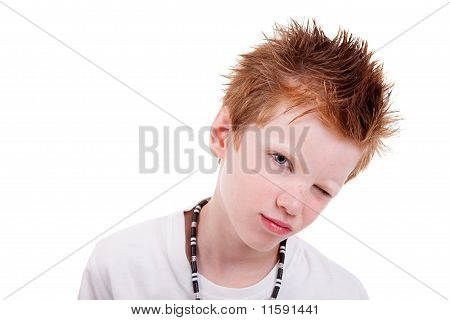 Cute Blond Boy Winking And Smiling, Isolated On White, Studio Shot