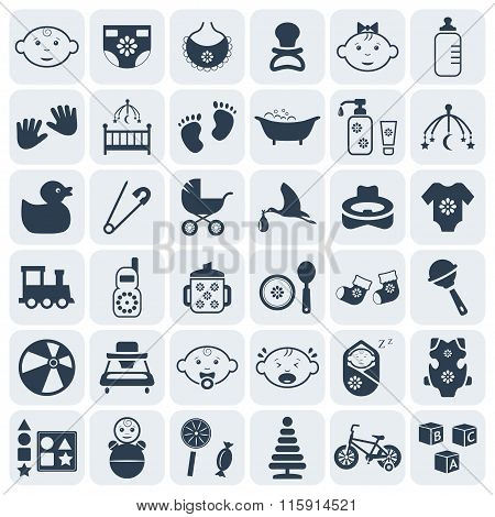 Baby,kids And Toys Icon Set.vector Symbols. Vector Illustration