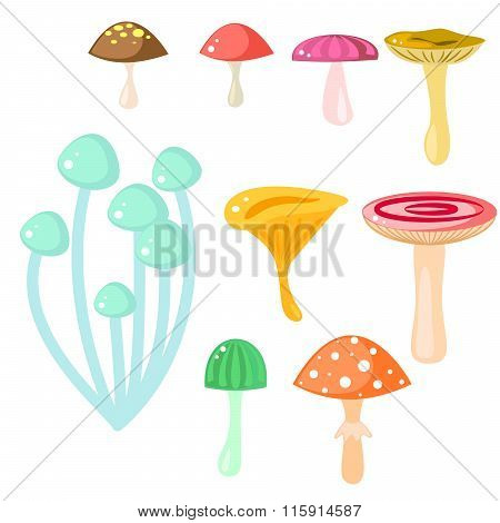 Isolated Cartoon Mushrooms Vector On White.