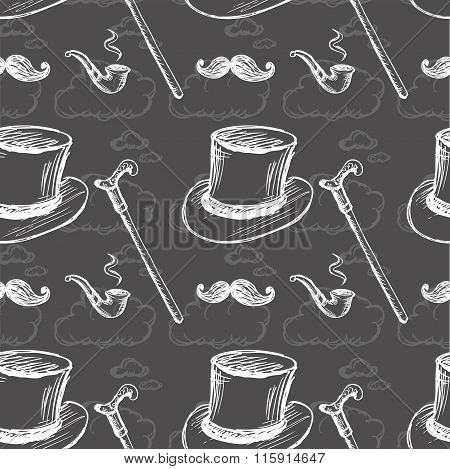 Seamless Pattern With Steampunk Top Hat