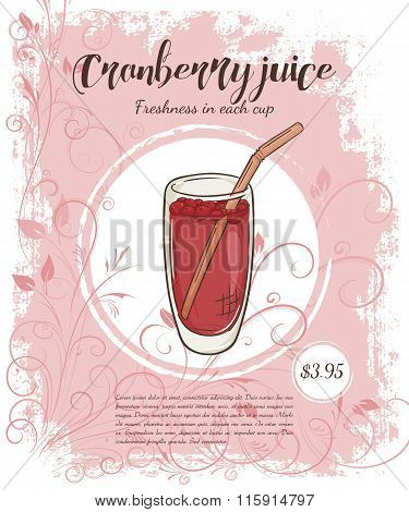 Vector Hand Drawn Illustration Of Drinks Menu Pages With Cup Of Cranberry Juice