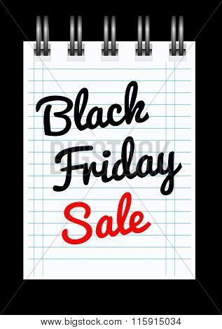 Black friday sale background with notepad