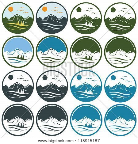 Set Of Vintage Labels With Mountains ,pines,sun And Birds