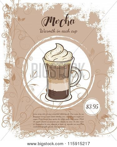 Vector Hand Drawn Illustration Of Drinks Menu Pages With Cup Of Mocha