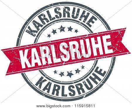 Karlsruhe red round grunge vintage ribbon stamp