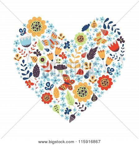 Cute Vintage Heart Shape With Flowers