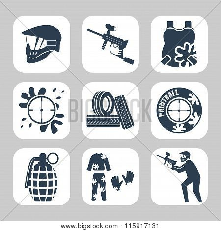 Paintball Related Icon Set.vector Symbols. Vector Illustration