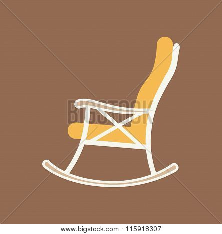Flat illustration of rocking chair made in vector for your design.