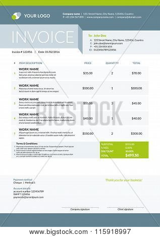 Vector Invoice Form Template Design. Vector Illustration. Green And Gray Color Theme