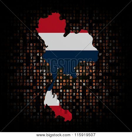 Thailand map flag on hex code illustration