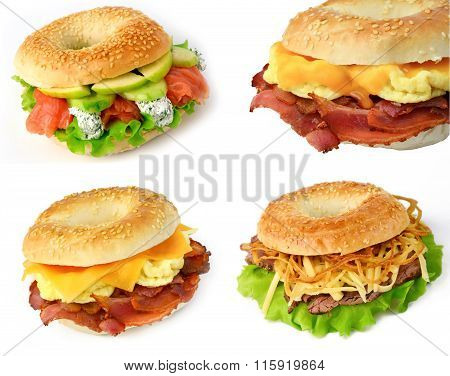 Breakfast bagel sandwiches on white background