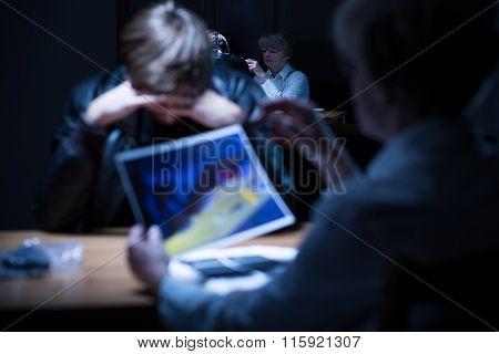 Worried Criminal During Hearing