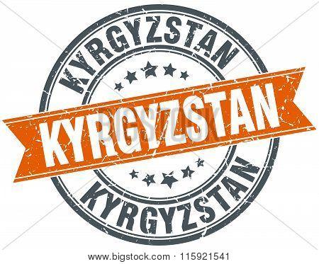 Kyrgyzstan orange round grunge vintage ribbon stamp