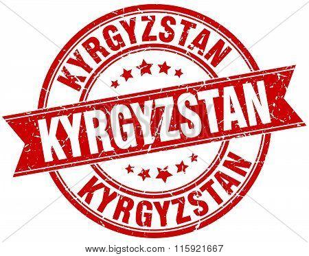 Kyrgyzstan red round grunge vintage ribbon stamp