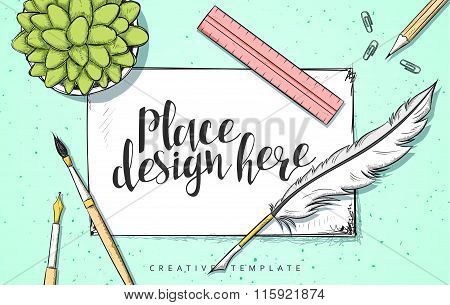 Template design concept sketch illustration for marketing. Concepts web banners