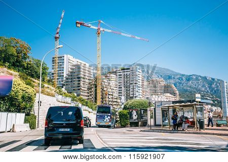 Construction of residential buildings in Monaco, Monte Carlo.