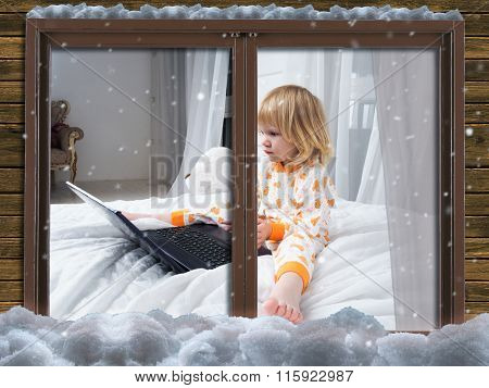 From the street, through the window you can see a child in pajamas