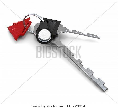 Bunch of keys on white background. 3d illustration. 3d rendering