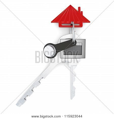 Set of keys with keychain isolated on white background. 3d rende