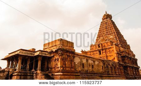 THANJAVUR January 25th, 2016 - Brihadeeswarar Temple captured on a bright sunny day