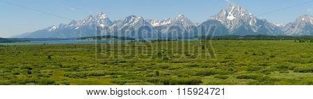 Panoramic view of the Tetons in Wyoming