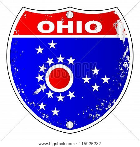 Ohio Flag Icons As Interstate Sign