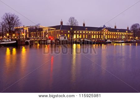 Historical building Heritage in Amsterdam the Netherlands by night
