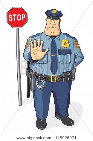 A policeman and a stop sign.