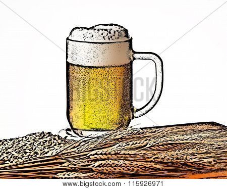 Ilustration Of Beer Glass With Barley
