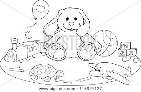 Toys coloring vector