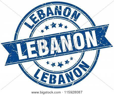 Lebanon blue round grunge vintage ribbon stamp