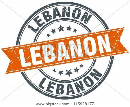 Lebanon red round grunge vintage ribbon stamp