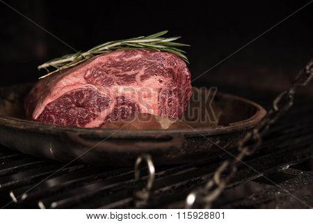 A large piece of fresh pork tenderloin in a pan on the grill with rosemary