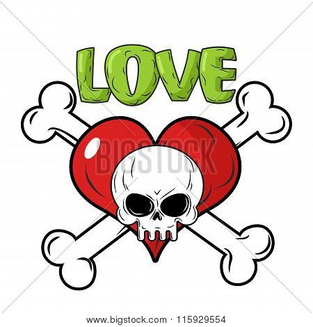 Skull And Heart. Love To Death Is An Emblem For Feast Of St. Valentine