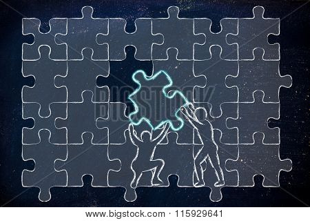Men Lifting Up Missing Piece To Complete A Jigsaw Puzzle
