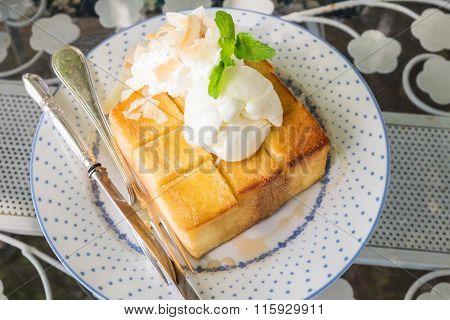 Honey Toast With Vanilla Icecream And Whipped Cream