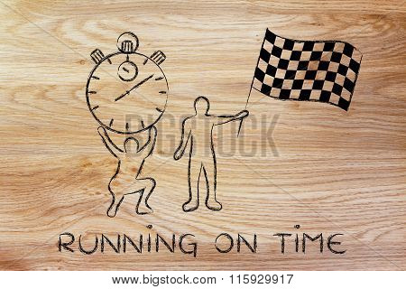 Men With Oversized Stopwatch & Chekered Flag, With Text Running On Time