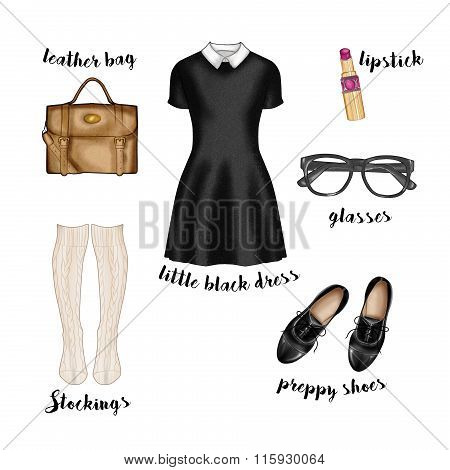 Watercolor fashion illustration. preppy hipster casual style outfit