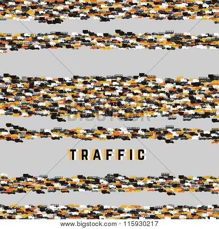 City Traffic. Abstract Pattern With Colorful Cars. Poster. Vector.